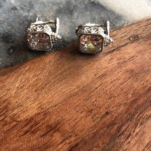 Judith Ripka earrings 925 with CZ